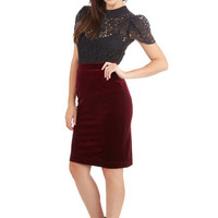 ModCloth 80s Mid-length Pencil Inspire Yourself Skirt in Merlot