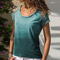 fhotwinter19 Hot new style shoulder hollow casual women's short sleeve T-shirt