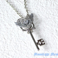 Sailor Moon Necklace - Inspired by Sailor Moon Eternal Tiare Rod - Silver Wing Heart Key Sailor Moon Necklace Jewelry Valentines Day Gift