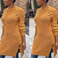 Winter Bandage Knit Round Necked Split One Piece Dress Sweatshirt a13313