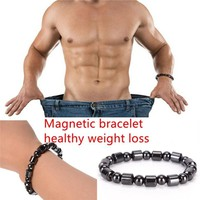 2017 new Weight Loss Round Black Stone Magnetic Therapy Bracelet Health Care Luxury 1pc