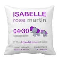 Customizable Birth Announcement Pillow - Customize Name, Date, Color, Font and Much More!