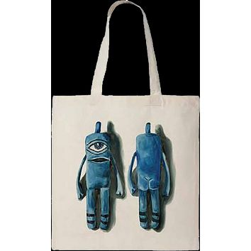 Toy Machine Sect Puppet Tote Bag Natural Blue