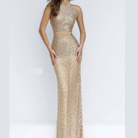 Two Piece Fitted Sherri Hill Formal Prom Gown 50087