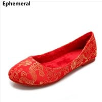 """Lady's soft bottom Chinese character embroidered flats""""dragon and phoenix wedding shoes with fur for winter autumn Red 43-34 42"""