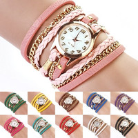 Women's fashion, cute, Colorful Vintage Weave Wrap Rivet Leather Bracelet Wrist Watch = 1931720068