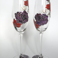 Hand painted Wedding Toasting Flutes Set of 2 Personalized Champagne glasses Purple peonie, white and red Orchid
