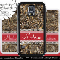 Camo Red Lace Monogram Galaxy S5 S6 case S4 Tree Camo Custom Name Hunting Personalized Galaxy S3 Case Note 2 3 Cover Country Girl