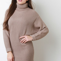 Rib Knit Turtleneck Dolman Sleeve Dress