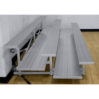 Gared Sports 3-Row Tip-N-Roll Aluminum Bleacher w/Double Foot Planks