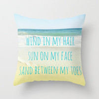 Wind In My Hair Throw Pillow by Shawn Terry King | Society6