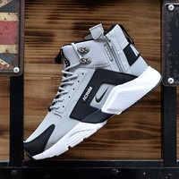 Best Online Sale Nike Air Huarache X Acronym City Customise MID Leather Sport Shoes Grey Black White