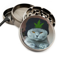 "Cat In Hat - 2.5"" Premium Zinc Herb Grinder - Custom Designed"