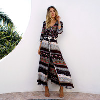 Fashion Retro Female Multicolor Irregular Print Boho V-Neck Hem Split Long Sleeve Maxi Dress