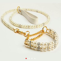 """Small Rhinestone and Pearl Dog Collar and matching leash fits 8-11"""" necks"""