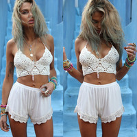 White Crochet Halter Bra with Lace Trimmed Short