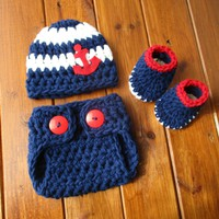 Nautical Baby Outfit Navy Blue Newborn Boy Photo Outfit