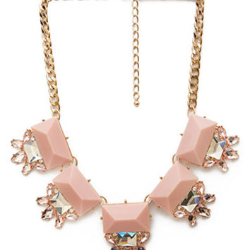 FOREVER 21 Faux Gem Statement Necklace Gold/Pink One
