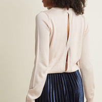 Metallic Sweater with Open Back in Pink