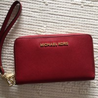 Michael Kors Wristlets Safiano Red Leather Wallet
