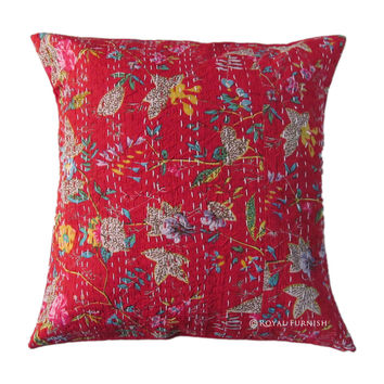 Red Bird Paradise Floral Decorative Indian Kantha Cotton Cushion Cover