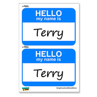Terry Hello My Name Is - Sheet of 2 Stickers