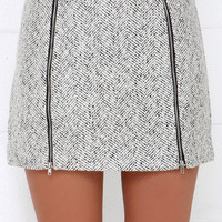 Uptown Upgrade Black and Ivory Mini Skirt