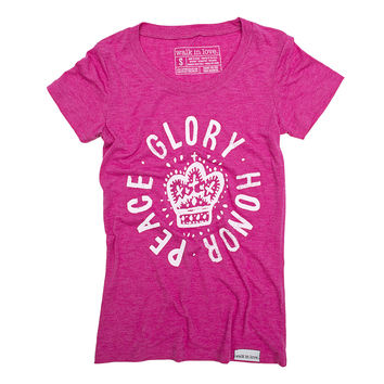 Glory, Honor, Peace Fuchsia Women's T-Shirt