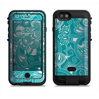 The Turquoise Fancy White Floral Design Apple iPhone 6/6s LifeProof Fre POWER Case Skin Set