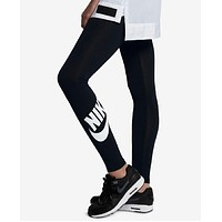 Nike Fashion Print Exercise Fitness Gym Yoga Running Leggings Sweatpants Black
