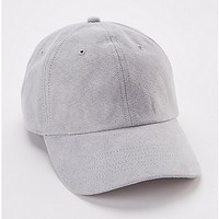 Light Gray Faux Suede Dad Hat - Spencer's