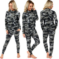 Camouflage Sweatshirt Drawstring Pants Suit