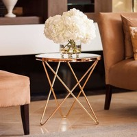 Tetra Glasstop Round End Table with Gold Metal Frame