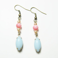 Pink pears and Blue Earrings with brass earwire