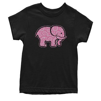 Pink Paisley Elephant Youth T-shirt