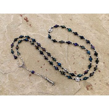 Aphrodite Prayer Bead Necklace in Rainbow Tiger Eye: Greek Goddess of Love and Beauty