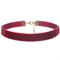 Dark Thick Red Velvet Choker