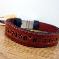 FREE SHIPPING -  Men's  Bracelet.,Men Leather Bracelet.Men Bracelet, Personalized. Men Coordinate bracelet with brown leather,magnetic claps