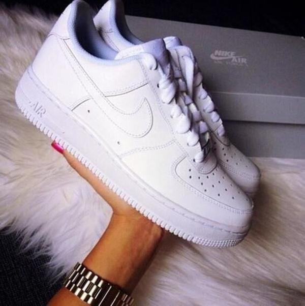Image of NIKE Women Men Running Sport Casual Shoes Sneakers Air force White