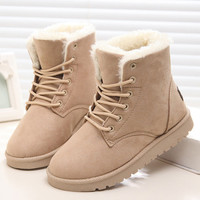 2016 New Warm Winter Boots For Women Ankle Boots Waterproof Snow Girls Boots Female Shoes Suede with Plush Insole Botas Mujer Beige