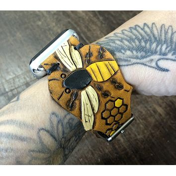 Honey Bee Tooled Leather Apple Watch Band Honeycomb 38mm or 40mm