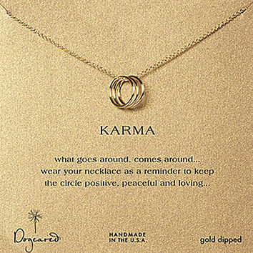 Dogeared Triple Karma Delicate Ring Necklace - Gold