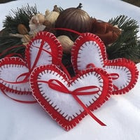 Christmas ornaments #felt hearts #ornaments #gift for mum #gift for mother #