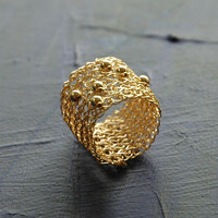 Gold Ring with Sporadic Beads , Wire Crochet Jewelry , Gold Filled Ring