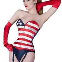 Stars and Stripes steel boned corset. Patriotic steel boned corset