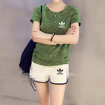 """Adidas"" Women Casual Fashion Small Logo Print Short Sleeve Shorts Set Two-Piece Yoga Sportswear"