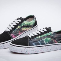 vans galaxy print canvas flats shoes sneakers sport shoes