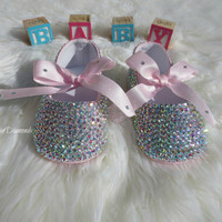 Rainbow Baptism Wedding Christening Pageant PRINCESS PHOTO PROP Sparkle Shine Ballet Slippers made with Swarovski Crystals