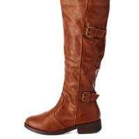 Bamboo Double Buckle Riding Boots by Charlotte Russe - Chestnut