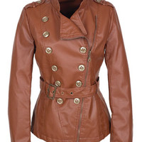 Faux Leather Belted Trench - Brown